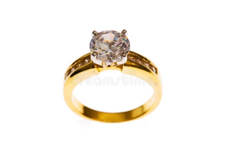 O anel dourado isolou-se imagem de stock