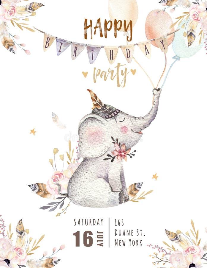 O animal bonito do berçário do elefante do bebê isolou a ilustração para crianças Família boêmia do elefante da floresta do boho  ilustração do vetor