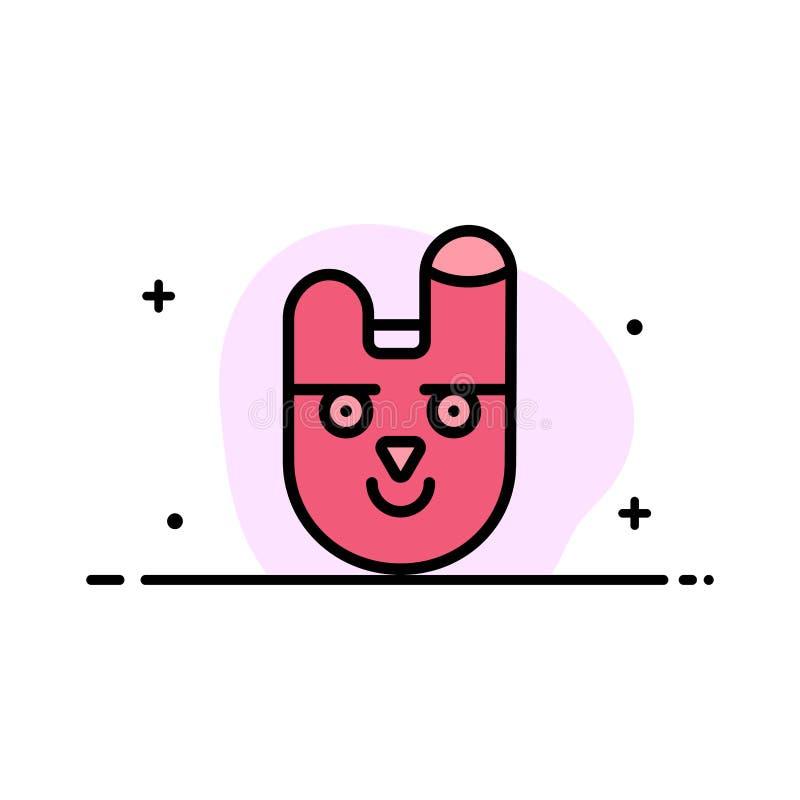 O animal, coelho, cara, linha lisa do negócio do coelho encheu o molde da bandeira do vetor do ícone ilustração do vetor