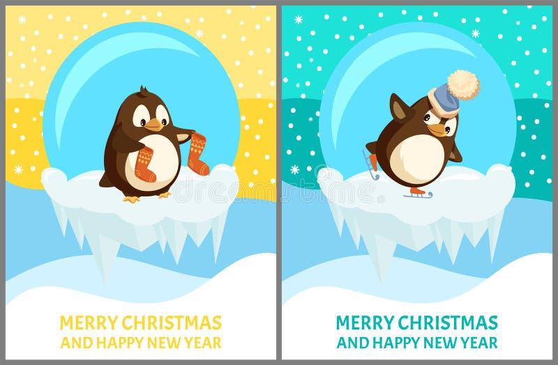 O animal de patinagem do pinguim guarda peúgas, vetor de patinagem ilustração royalty free