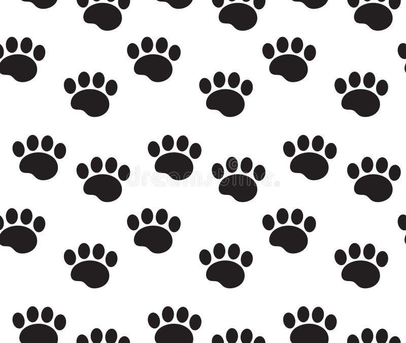 O animal segue o teste padrão sem emenda As patas do cão seguem a repetição da textura, fundo infinito Ilustração do vetor ilustração stock