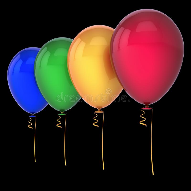 O aniversário balloons a decoração de 4 partidos colorido ilustração royalty free