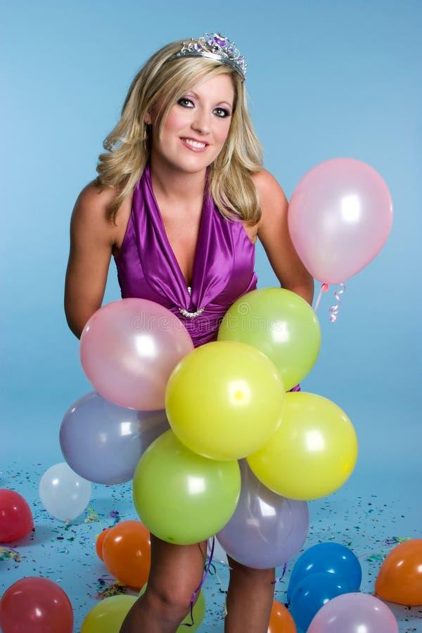 O aniversário Balloons a menina imagem de stock royalty free