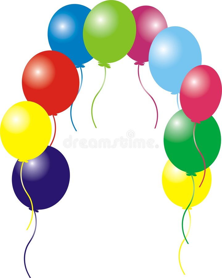 O aniversário balloons o frame fotos de stock