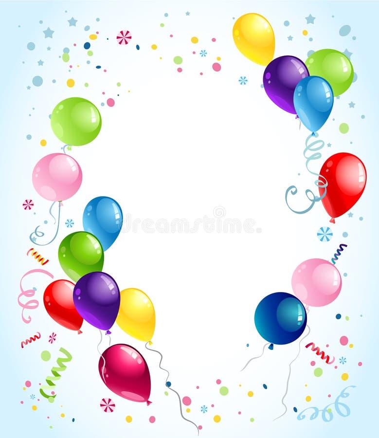O aniversário balloons o fundo ilustração stock