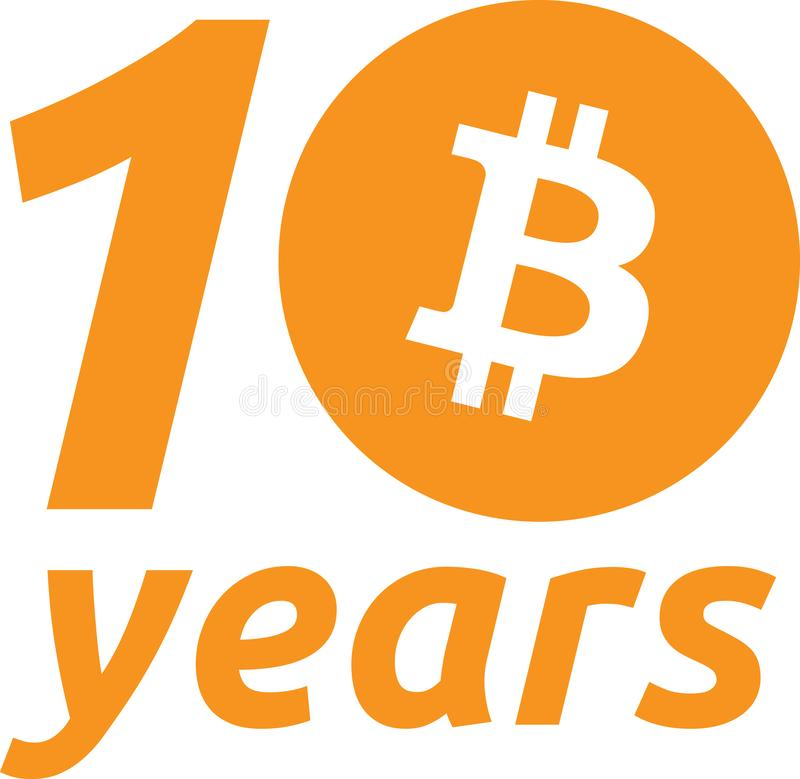 10o aniversário Bitcoin ilustração do vetor