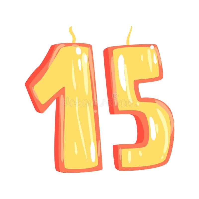 O aniversário candles a ilustração do vetor dos desenhos animados do número 15 ilustração royalty free