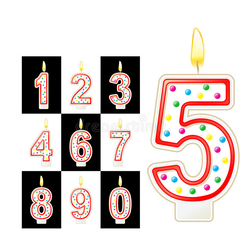 O aniversário candles o número Vermelho ilustração do vetor