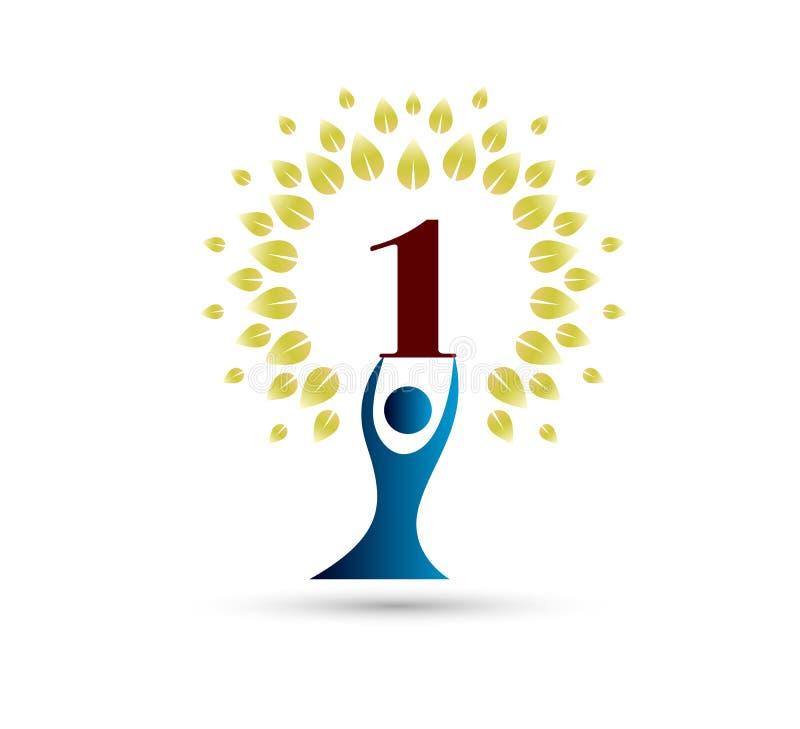 O aniversário dos povos, 1 ano circunda o ícone da forma Pode ser usado para a Web, o logotipo, o app móvel, etc. ilustração stock