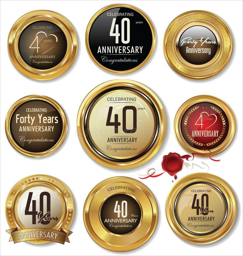 O aniversário dourado etiqueta 40 anos ilustração royalty free
