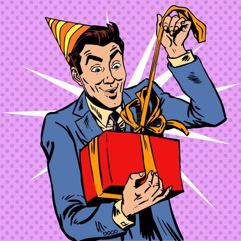 O aniversário masculino desembala o presente ilustração do vetor