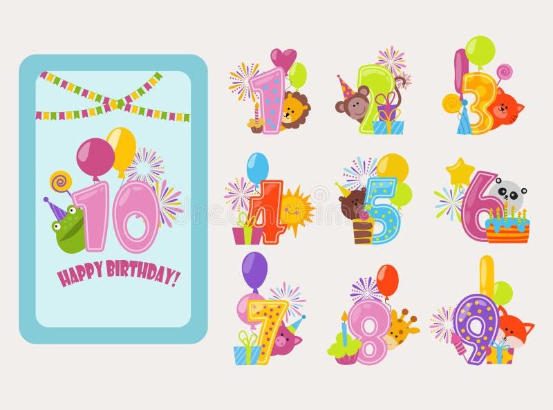 O aniversário numera o balão do nascimento do aniversário dos desenhos animados do vetor ilustração stock
