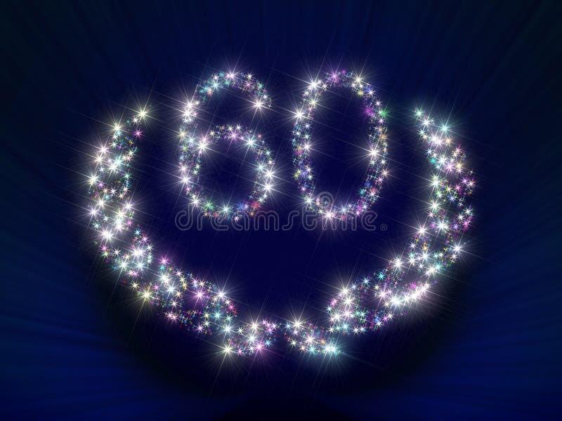 O aniversário Stars o número 60 ilustração royalty free