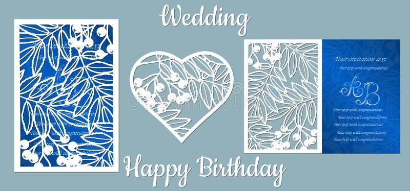 O anivers?rio inscri??o-feliz, casamento Rowan, folhas, bagas, Cartão Rowan, folhas, bagas no coração, e espaço para o texto lase ilustração royalty free