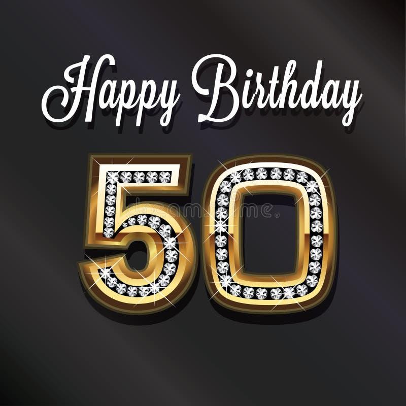 50.o aniversario del feliz cumpleaños stock de ilustración