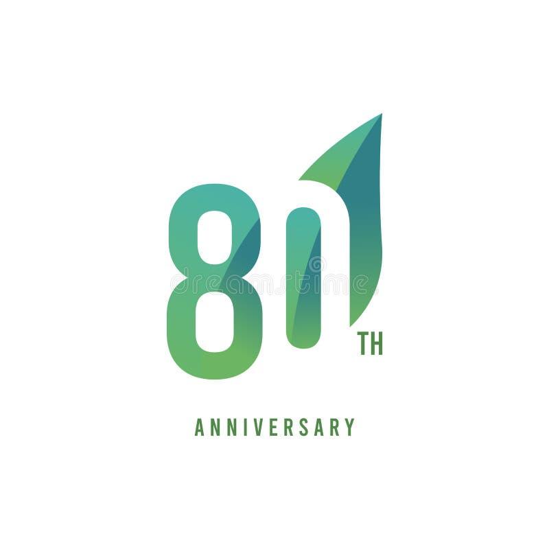80.o aniversario Logo Vector Template Design Illustration stock de ilustración