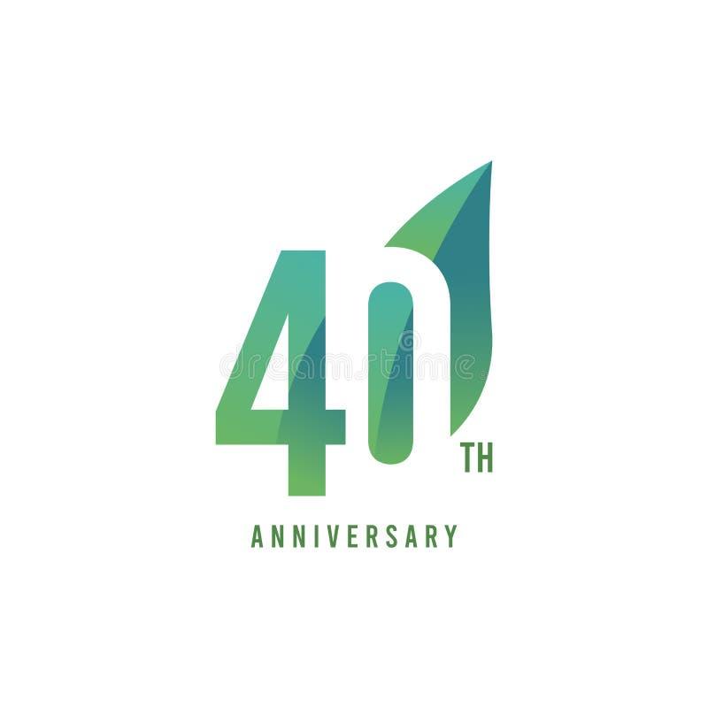 40.o aniversario Logo Vector Template Design Illustration ilustración del vector