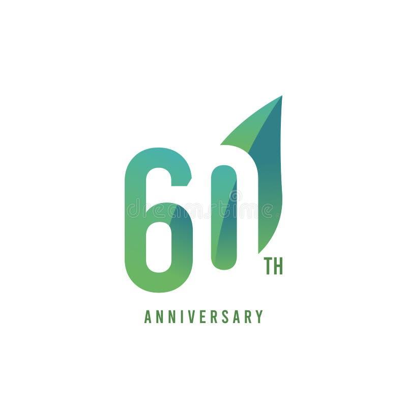 60.o aniversario Logo Vector Template Design Illustration ilustración del vector