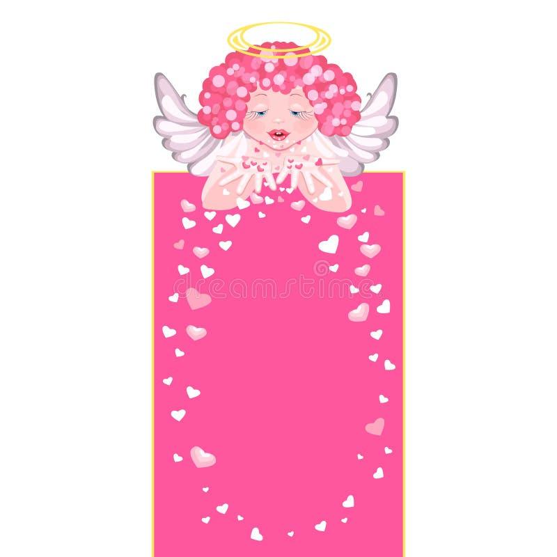 O anjo bonito dispersa corações Corações de vibração ilustração do vetor