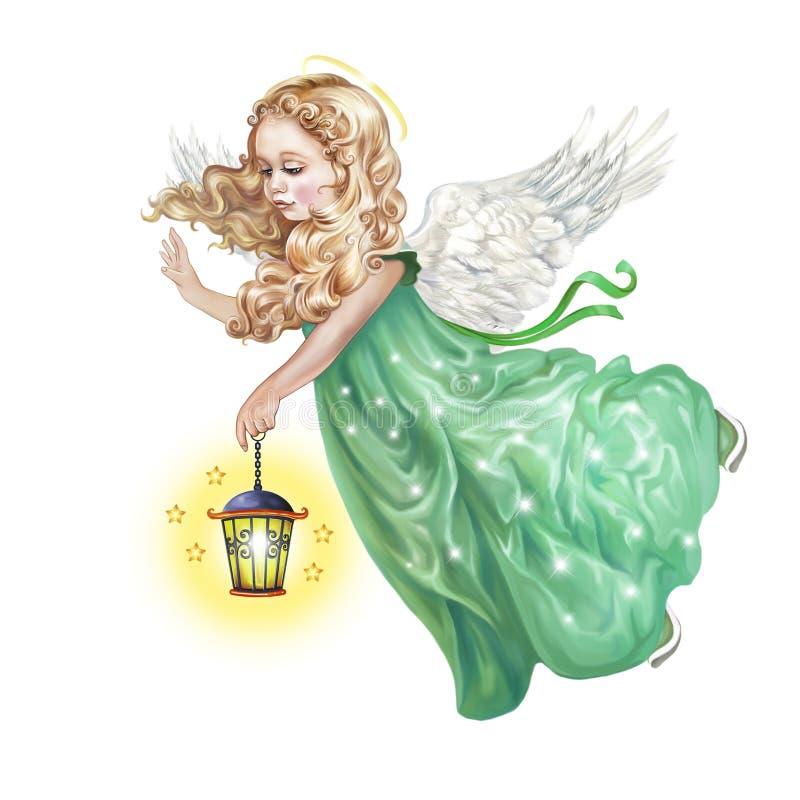 O anjo está voando com uma lâmpada ilustração do vetor