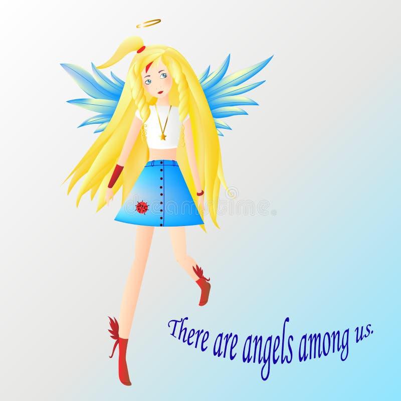 O anjo, o louro da menina com olhos azuis e as asas vestiram-se em um t branco ilustração royalty free