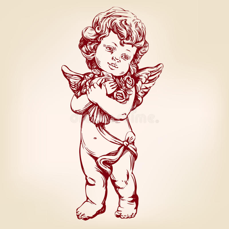 O anjo ou o cupido, bebê pequeno guardam um ramalhete das flores, esboço realístico tirado mão da ilustração do vetor do cartão ilustração stock