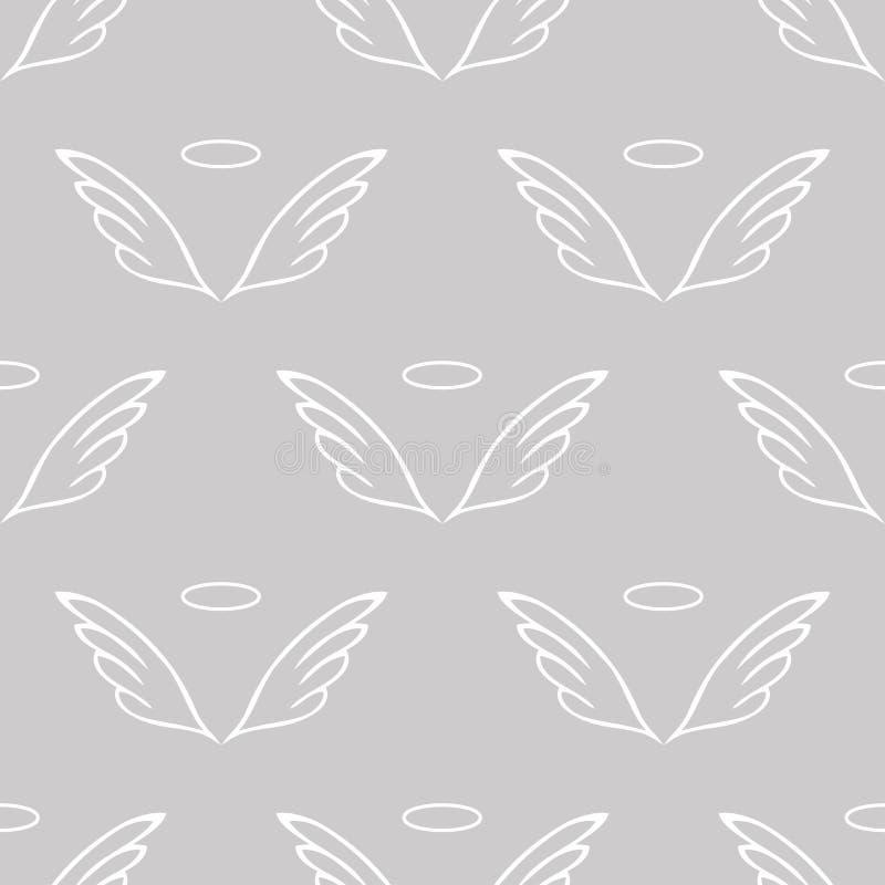 O anjo voa o teste padrão cinzento do esboço ilustração stock