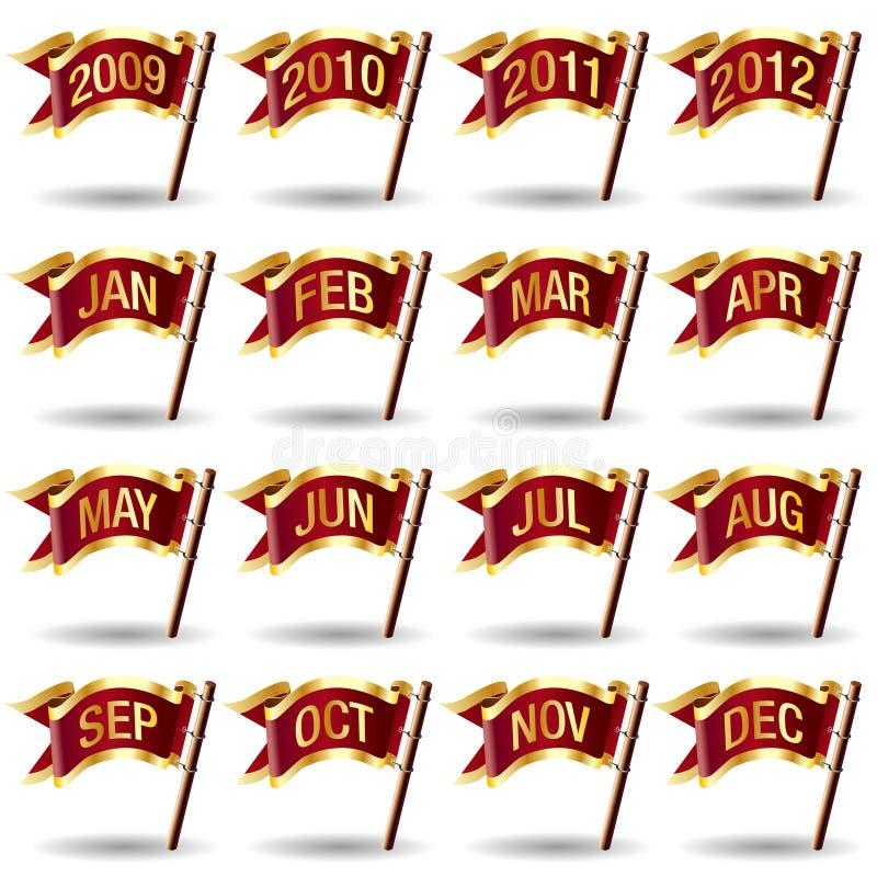 O ano e o mês calendar ícones em teclas da bandeira ilustração do vetor