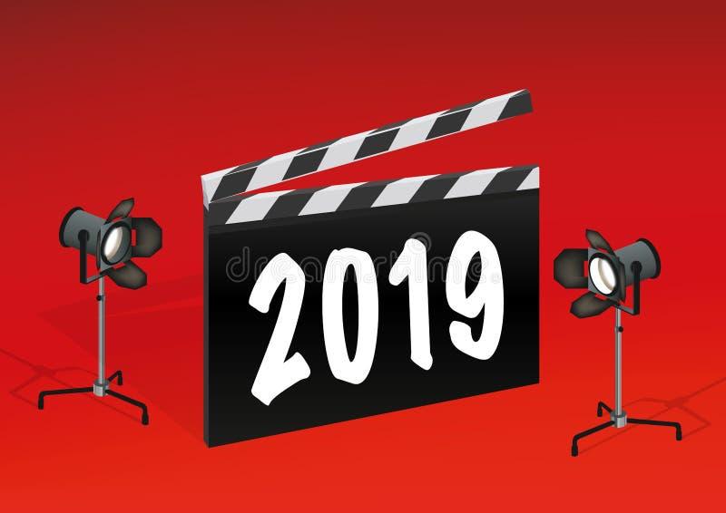 O ano 2019 escrito em uma ripa do filme ilustração do vetor