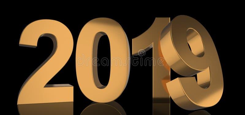 O ano 2019 está em números dourados corajosos com brilho metálico ilustração stock