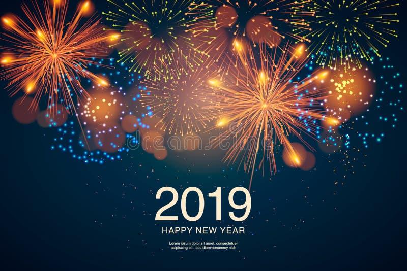 O ano 2019 indicado com fogos-de-artifício e estroboscópios Ano novo e conceito dos feriados fotografia de stock royalty free