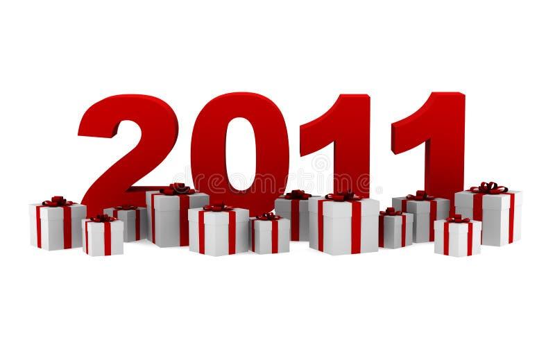 O ano novo 2011 com caixas de presente isolou-se ilustração stock