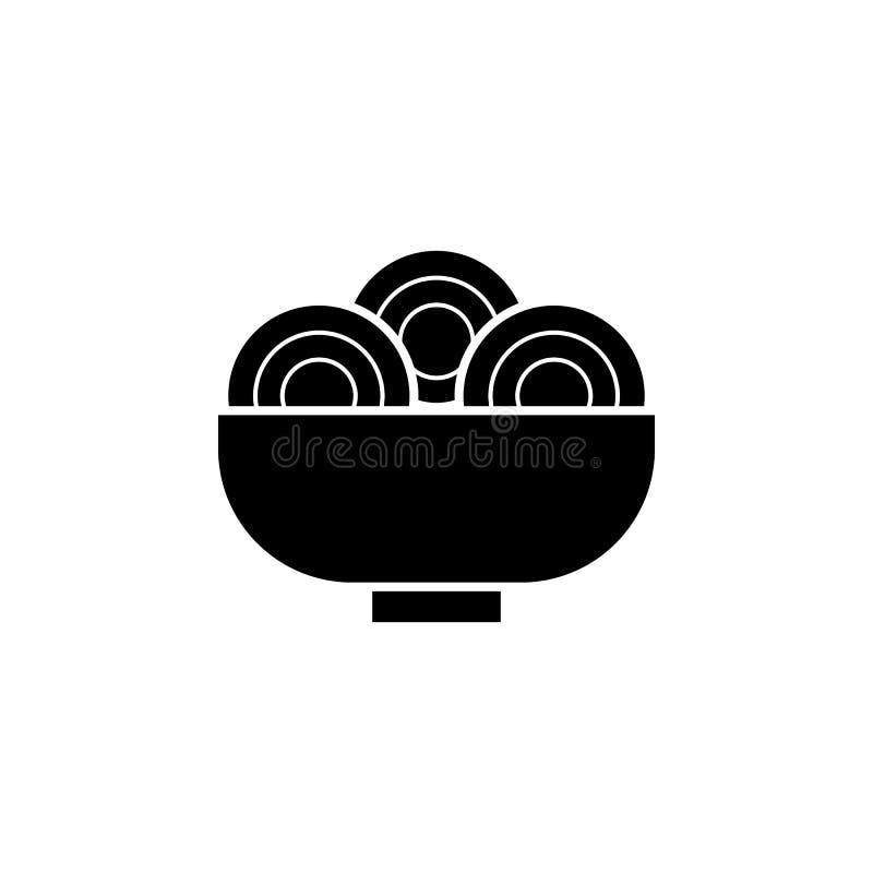 O ano novo, China, macarronetes, ícone do alimento pode ser usado para a Web, logotipo, app móvel, UI, UX ilustração stock