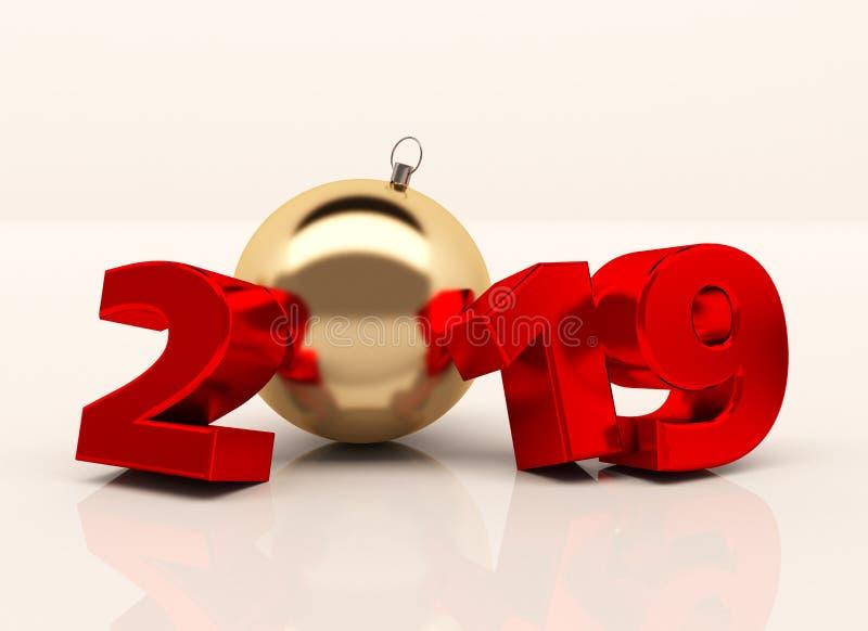 O ano novo 3D lustroso vermelho figura 2019 com decorações do Natal ilustração stock