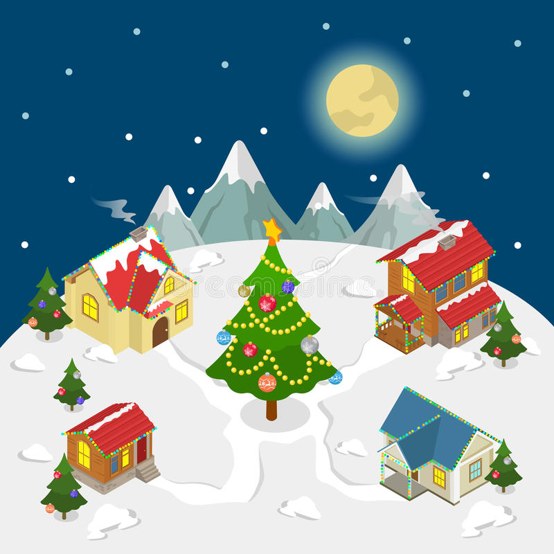 O ano novo do Feliz Natal abriga o vetor liso da árvore de abeto isométrico ilustração do vetor