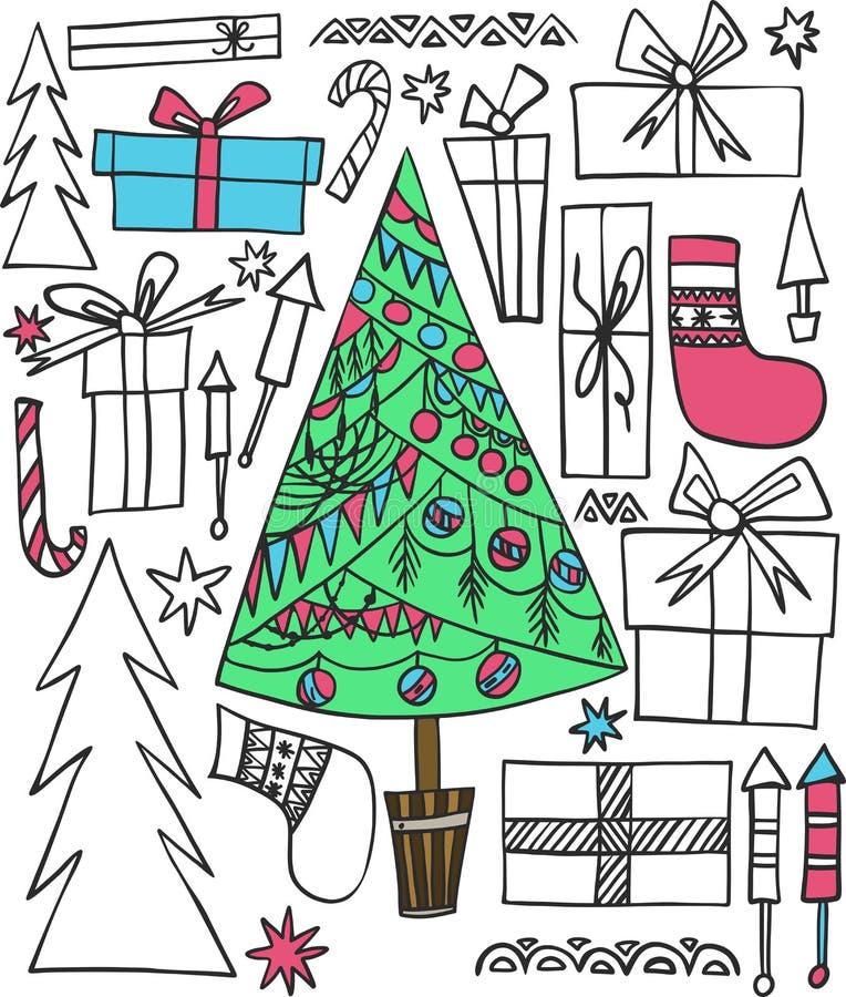 O ano novo do feriado bonito multicolorido gráfico artístico bonito abstrato rabisca ilustração stock