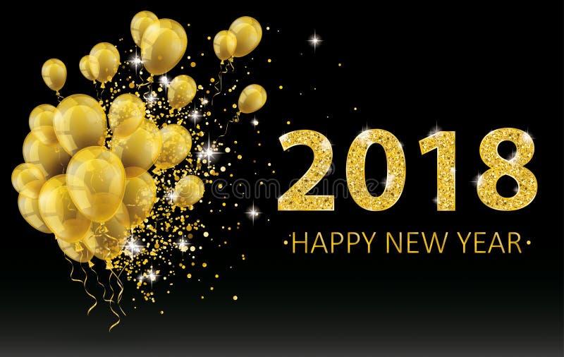 O ano novo dourado Balloons um preto Backgroun de 2018 confetes das partículas ilustração stock