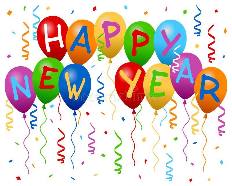 O ano novo feliz Balloons a bandeira ilustração do vetor