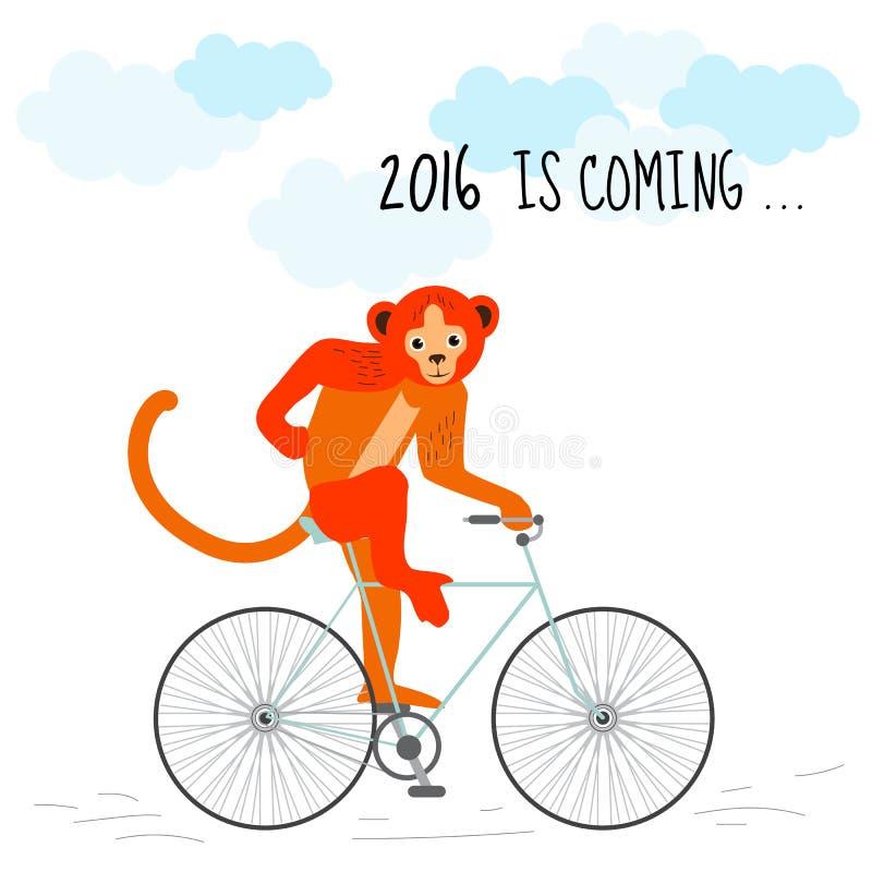 O ano novo feliz 2016 da carga é conceito de vinda O macaco vermelho monta uma bicicleta Projeto à moda ilustração do vetor