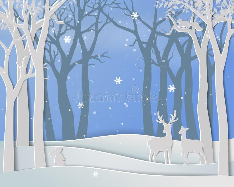 O ano novo feliz e o Feliz Natal com a família dos cervos no inverno temperam ilustração royalty free