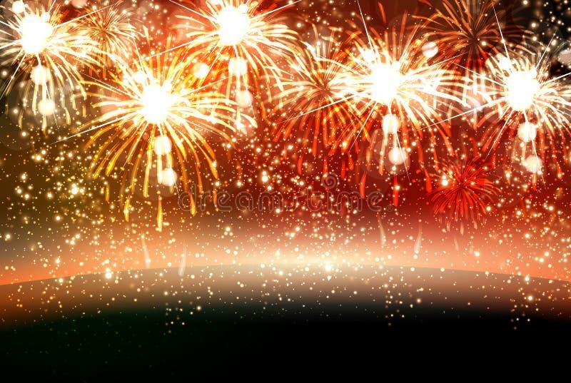 O ano novo feliz e o Natal vector a celebração fi ilustração stock