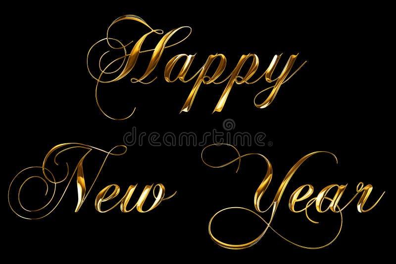 O ano novo feliz metálico 2018 de ouro amarelo do vintage, 2019, 2020, 2021, 2022 exprime o texto com reflexo claro no fundo pret ilustração royalty free