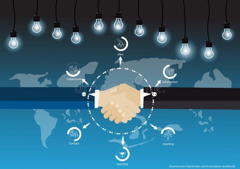 O aperto de mão do homem de negócios do vetor concordou fazer o negócio com a lâmpada e os ícones do mapa do mundo Projeto liso ilustração do vetor