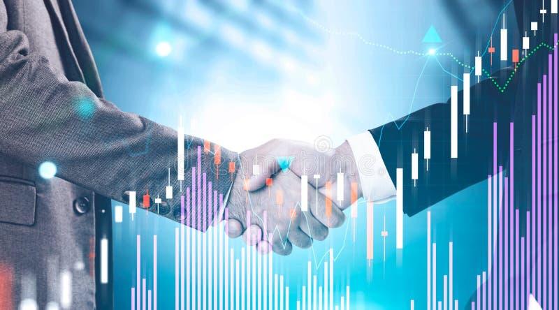 O aperto de mão dos homens de negócios, estrangeiros representa graficamente imagens de stock