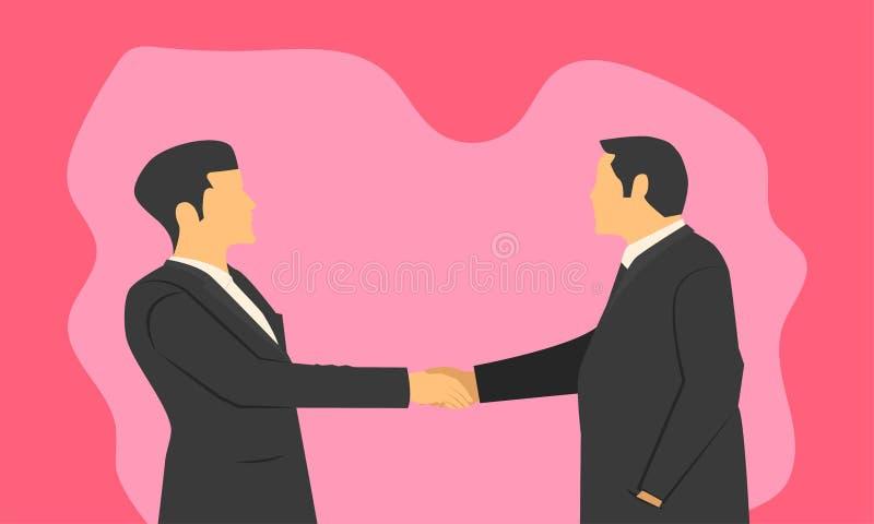 O aperto de mão dos homens de negócios para a confirmação de uma empresa partnered compromisso e integridade do respeito na ordem ilustração do vetor