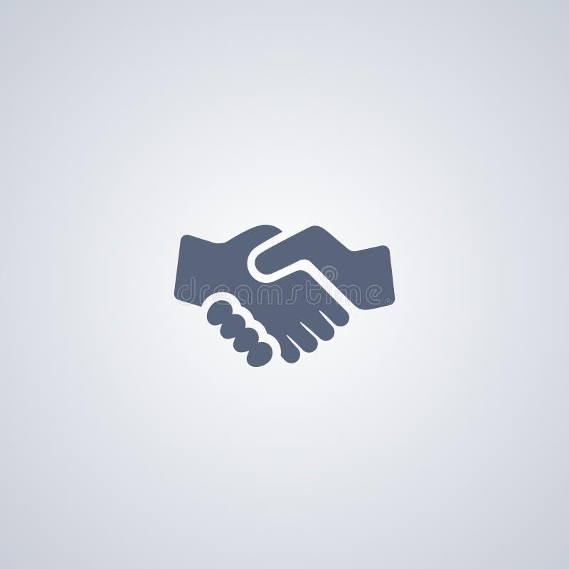 O aperto de mão, parceria, vector o melhor ícone liso ilustração stock