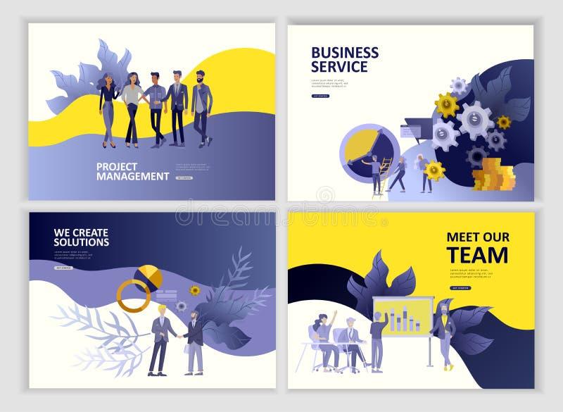 O app dos serviços a empresas dos povos do molde da página da aterrissagem, o trabalho da equipe, a pesquisa ajustada e a gestão  ilustração do vetor