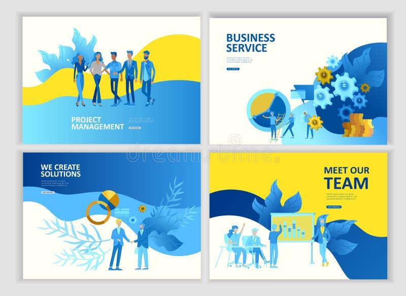 O app dos serviços a empresas dos povos do molde da página da aterrissagem, o trabalho da equipe, a pesquisa ajustada e a gestão  ilustração stock