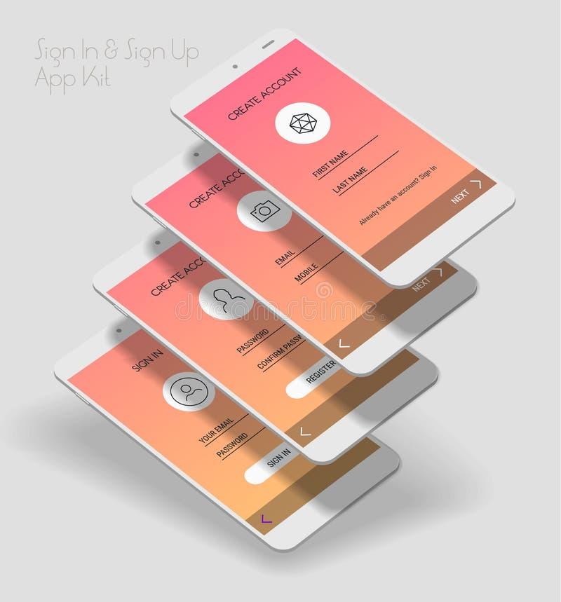 O App móvel UI assina dentro e assina seleciona acima o jogo do modelo 3d ilustração stock