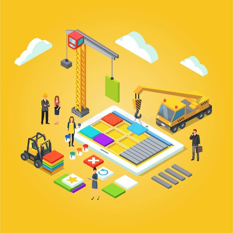 O App projeta a relação móvel de construção do ux do app ilustração royalty free